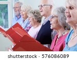 group of seniors singing in... | Shutterstock . vector #576086089