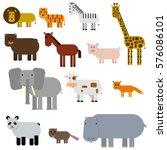 Big Set Of Animals. Lion  Tige...