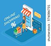 online shopping isometric... | Shutterstock .eps vector #576086731