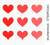 red hearts icons. vector... | Shutterstock .eps vector #576092161