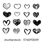 set of hand drawn abstract... | Shutterstock .eps vector #576093049
