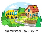 Landscape With School   Vector...