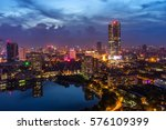 hanoi city by twilight period ... | Shutterstock . vector #576109399