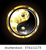 jewelry  gold and black yin... | Shutterstock .eps vector #576111175