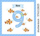 cute children flashcard number... | Shutterstock .eps vector #576112825