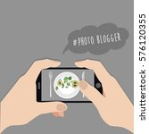 blogger concept.  hands holding ... | Shutterstock .eps vector #576120355