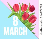 8 march typographic poster with ... | Shutterstock .eps vector #576122281