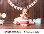 cute baby girl 1 year old... | Shutterstock . vector #576123139