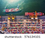 container ship in export and... | Shutterstock . vector #576134101