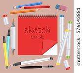 realistic art supplies  set art ... | Shutterstock .eps vector #576143881