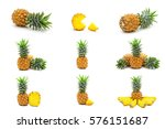 collection set of pineapples... | Shutterstock . vector #576151687