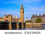 Big Ben Clock Tower And Thames...