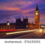 big ben clock tower in london...   Shutterstock . vector #576155251