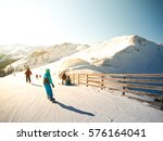 snowboarders and skiers on the... | Shutterstock . vector #576164041