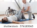 skilled aged orthopedist... | Shutterstock . vector #576185065