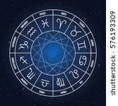 zodiac circle with astrology... | Shutterstock .eps vector #576193309