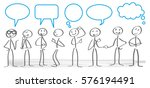 stick figures with dialog... | Shutterstock .eps vector #576194491