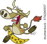 cartoon cow jumping over the... | Shutterstock .eps vector #576200557