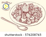 hand drawn breakfast... | Shutterstock .eps vector #576208765