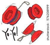 red yo yo toy set sketch ... | Shutterstock .eps vector #576208999