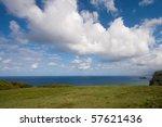 Big Clouds over Hawaii Coast - stock photo