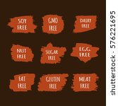 set of allergen free stickers.... | Shutterstock .eps vector #576221695