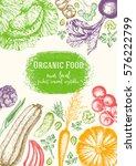vegetables top view frame.... | Shutterstock .eps vector #576222799