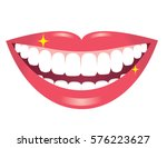 smiling mouth with white teeth | Shutterstock .eps vector #576223627