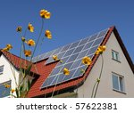 solar cells on a roof with... | Shutterstock . vector #57622381
