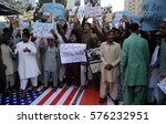 Small photo of KARACHI, PAKISTAN - FEB 10: Difa-e-Pakistan Council are holding protest demonstration in favor of Jamat-ud-Dawah Chief, as they are demanding to end his house arrest, on February 10, 2017 in Karachi.