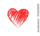 vector hand drawn red heart. | Shutterstock .eps vector #576233029