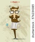 hipster character with cup of... | Shutterstock .eps vector #576234385