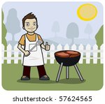 young man cooking at a bbq. | Shutterstock . vector #57624565