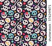 Skull Set. Seamless Pattern...