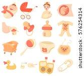 baby born icons set. cartoon...   Shutterstock . vector #576254314