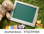 kids chalkboard. frame with a... | Shutterstock . vector #576259585