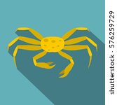 Yellow Crab Icon. Flat...