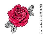 tattoo style rose illustration... | Shutterstock .eps vector #576270631