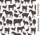 farm animals silhouette pattern | Shutterstock .eps vector #576297925