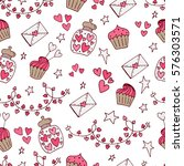 valentine seamless pattern with ... | Shutterstock .eps vector #576303571