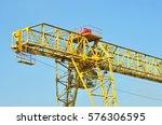 full gantry crane over blue sky ... | Shutterstock . vector #576306595