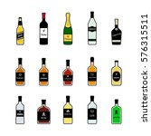 bottles of alcoholic beverages. ... | Shutterstock .eps vector #576315511
