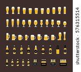 beer bottles and glasses icons...   Shutterstock .eps vector #576315514