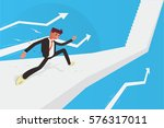 businessman running up stairs... | Shutterstock .eps vector #576317011