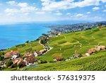 lavaux vineyard terraces  lake... | Shutterstock . vector #576319375
