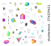 geometric diamond prism shaped... | Shutterstock .eps vector #576329611