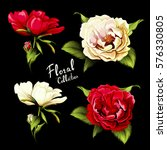 flowers. set of four different... | Shutterstock .eps vector #576330805