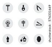 set of 9 editable barber icons. ...
