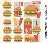 funny fast food icons set....