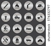 set of 16 editable camping...
